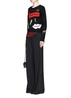 alice + olivia 'Cobi' satin tuxedo stripe wide leg pants