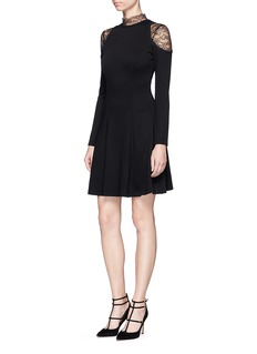alice + olivia 'Candice' lace insert  jersey dress