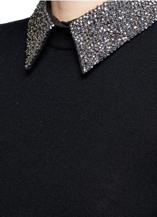 Detail View - Click To Enlarge - alice + olivia - 'Era' embellished collar wool sweater