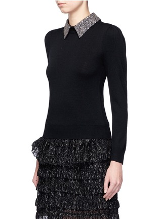Front View - Click To Enlarge - alice + olivia - 'Era' embellished collar wool sweater