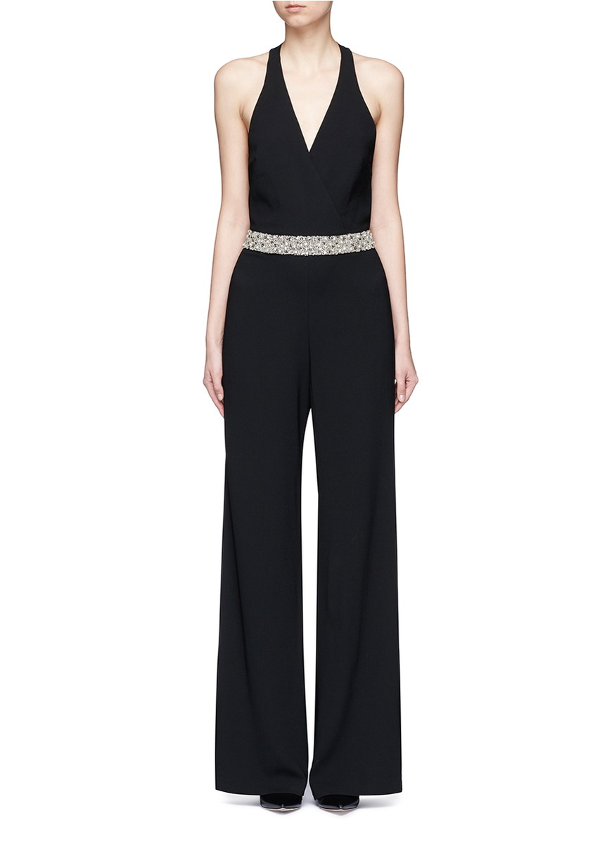 Dillyn bead embellished halter jumpsuit by alice + olivia