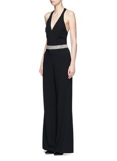alice + olivia'Dillyn' bead embellished halter jumpsuit