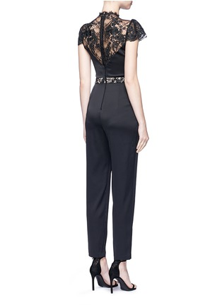 Back View - Click To Enlarge - alice + olivia - 'Rosalia' lace panel sateen jumpsuit