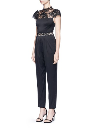 Front View - Click To Enlarge - alice + olivia - 'Rosalia' lace panel sateen jumpsuit