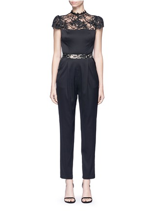 Main View - Click To Enlarge - alice + olivia - 'Rosalia' lace panel sateen jumpsuit