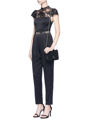 Figure View - Click To Enlarge - alice + olivia - 'Rosalia' lace panel sateen jumpsuit