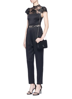 alice + olivia 'Rosalia' lace panel sateen jumpsuit