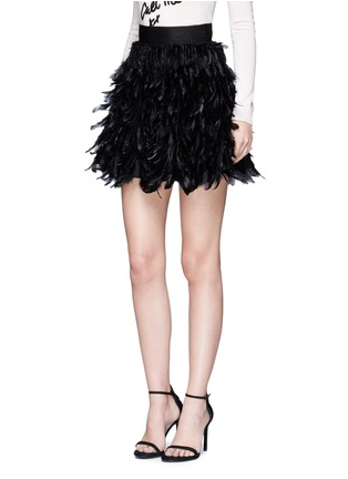 Front View - Click To Enlarge - alice + olivia - 'Cina' feather flared mini skirt