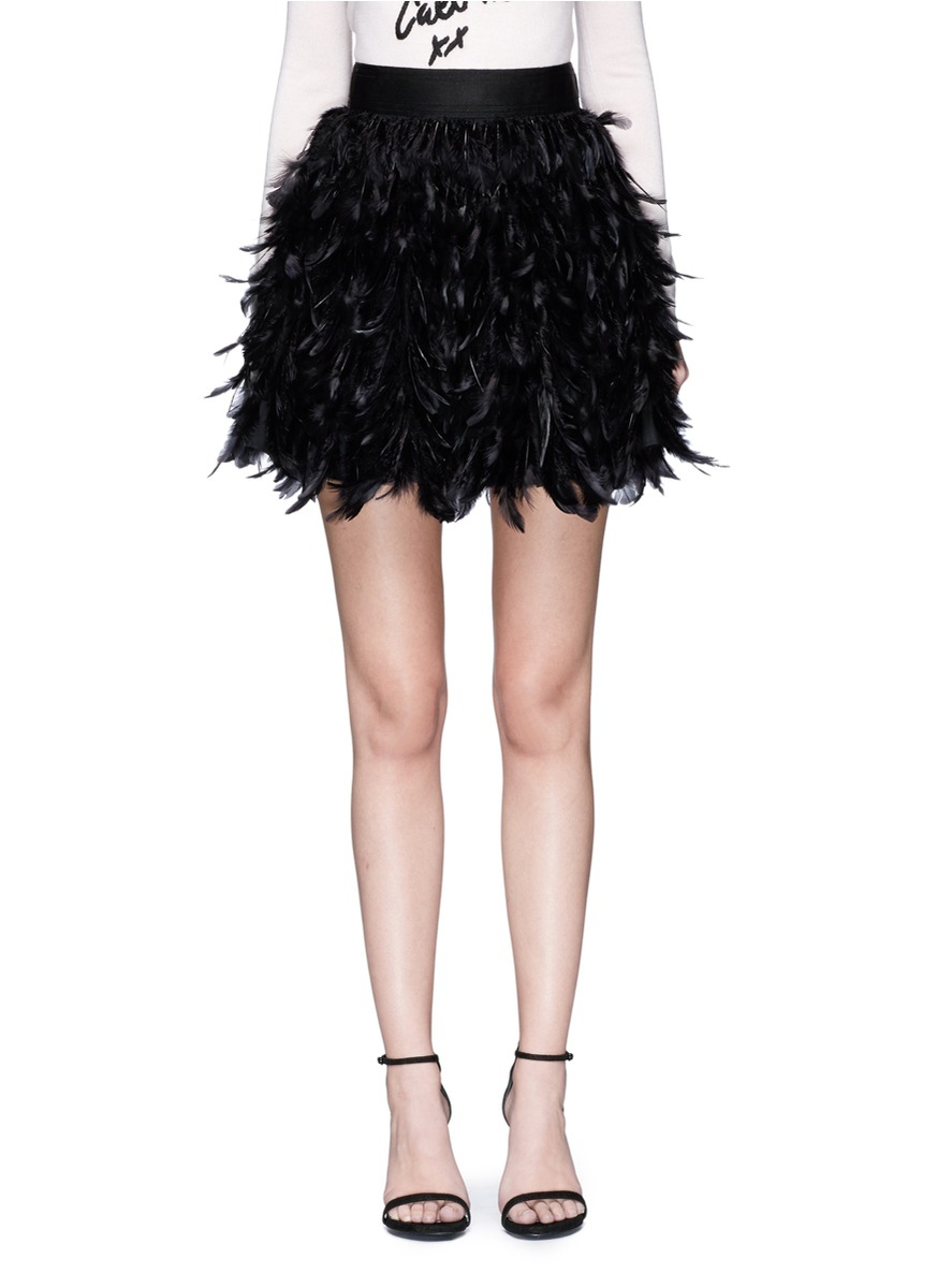 Cina feather flare mini skirt by alice + olivia