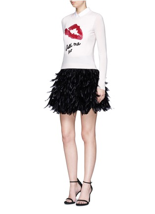 Figure View - Click To Enlarge - alice + olivia - 'Cina' feather flared mini skirt