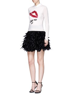 alice + olivia'Cina' feather flared mini skirt