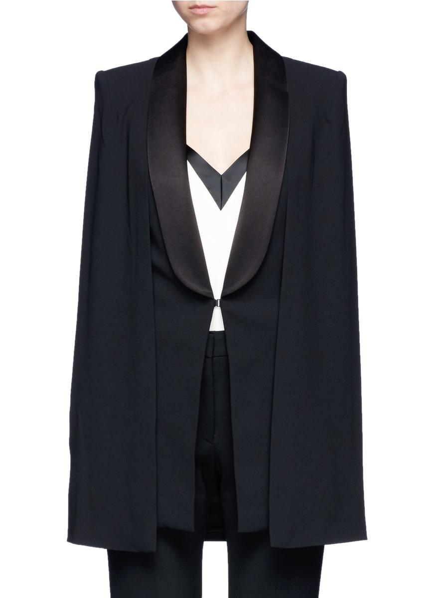 Merrie satin lapel cape vest by alice + olivia