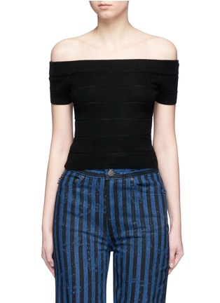 Main View - Click To Enlarge - alice + olivia - 'Livia' wool blend off-shoulder top