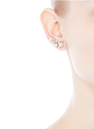 Anabela Chan-'Constellation' diamond pearl 18k white gold plated climber earrings
