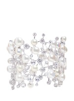 'Constellation' diamond pearl 18k white gold plated silver bracelet