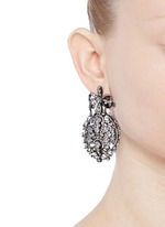 'Mirage' diamond 18k black gold plated silver drop earrings