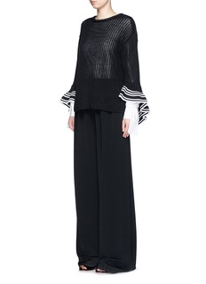 3.1 PHILLIP LIM Cascading ruffle open net stitch sweater