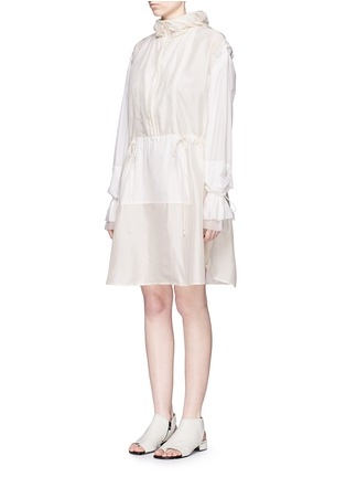 Front View - Click To Enlarge - 3.1 Phillip Lim - Ruffle sleeve long silk anorak