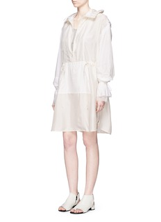 3.1 PHILLIP LIM Ruffle sleeve long silk anorak