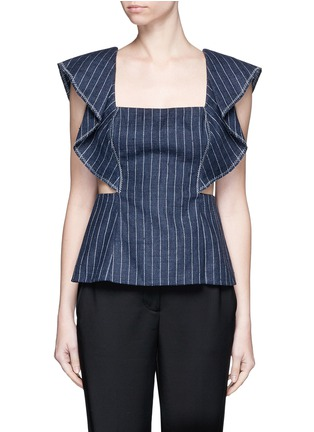 Main View - Click To Enlarge - 3.1 Phillip Lim - Cascade ruffle sleeve cutout pinstripe linen top