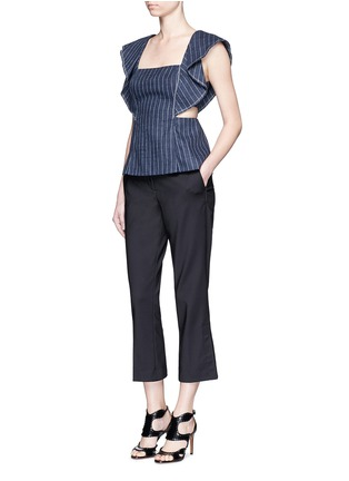 Figure View - Click To Enlarge - 3.1 Phillip Lim - Cascade ruffle sleeve cutout pinstripe linen top
