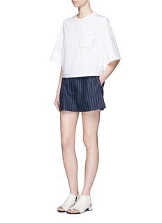 3.1 PHILLIP LIMPinstripe linen utility bloomer shorts