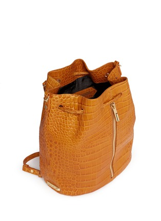 Detail View - Click To Enlarge - Elizabeth and James - 'Cynnie Sling' croc effect leather bucket bag