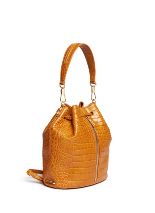 Front View - Click To Enlarge - Elizabeth and James - 'Cynnie Sling' croc effect leather bucket bag