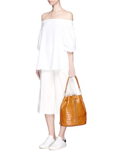 ELIZABETH AND JAMES 'Cynnie Sling' croc effect leather bucket bag
