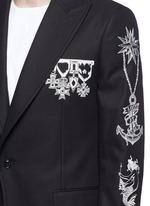 Tattoo embroidery peak lapel cavalry twill blazer