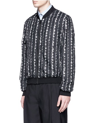 Front View - Click To Enlarge - Alexander McQueen - Barb wire print bomber jacket
