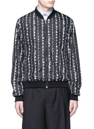 Main View - Click To Enlarge - Alexander McQueen - Barb wire print bomber jacket