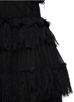Detail View - Click To Enlarge - Alexander McQueen - Shredded ruffle V-neck tiered knit dress