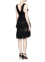 Shredded ruffle V-neck tiered knit dress