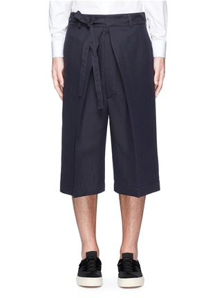 Main View - Click To Enlarge - Alexander McQueen - Oversize pleat front cotton-silk gabardine cropped pants