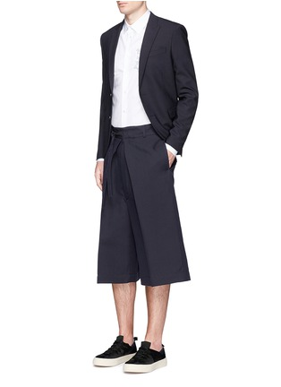 Figure View - Click To Enlarge - Alexander McQueen - Oversize pleat front cotton-silk gabardine cropped pants