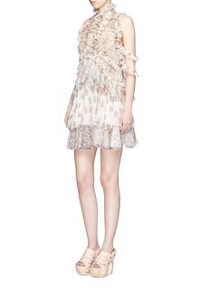 ALEXANDER MCQUEENMedieval floral print ruffle trim silk dress