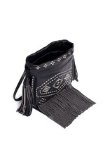 'Helena' small stud fringe leather bucket bag