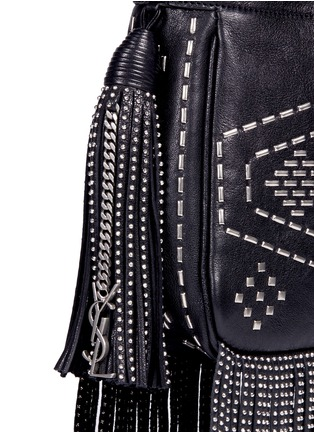 Detail View - Click To Enlarge - Saint Laurent - 'Helena' small stud fringe leather bucket bag