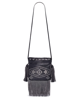 Back View - Click To Enlarge - Saint Laurent - 'Helena' small stud fringe leather bucket bag