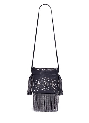 Main View - Click To Enlarge - Saint Laurent - 'Helena' small stud fringe leather bucket bag