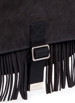 'Army' fringe front suede messenger bag