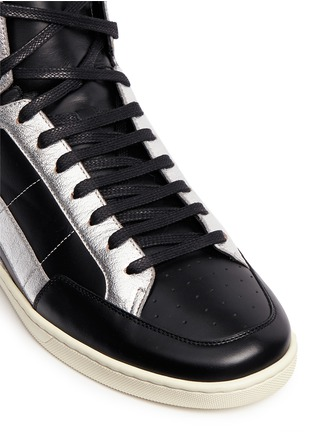 Detail View - Click To Enlarge - SAINT LAURENT - 'SL/34' metallic star leather high top sneakers