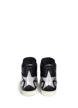 Back View - Click To Enlarge - Saint Laurent - 'SL/34' metallic star leather high top sneakers
