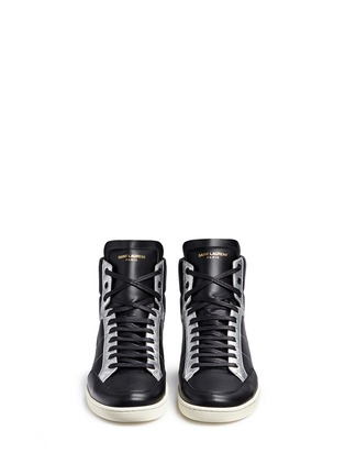 Front View - Click To Enlarge - Saint Laurent - 'SL/34' metallic star leather high top sneakers