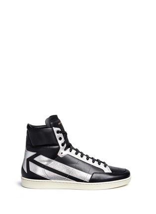 Main View - Click To Enlarge - SAINT LAURENT - 'SL/34' metallic star leather high top sneakers