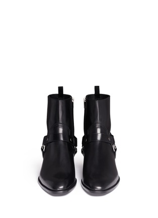 Front View - Click To Enlarge - Saint Laurent - 'Wyatt 40' harness leather boots