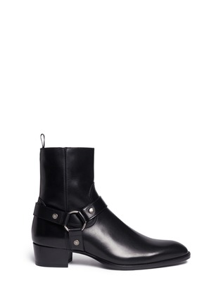 Main View - Click To Enlarge - Saint Laurent - 'Wyatt 40' harness leather boots