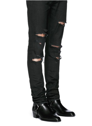 Figure View - Click To Enlarge - Saint Laurent - 'Wyatt 40' harness leather boots