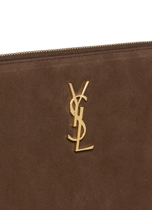 Detail View - Click To Enlarge - Saint Laurent - 'Monogram' small fringe suede crossbody bag